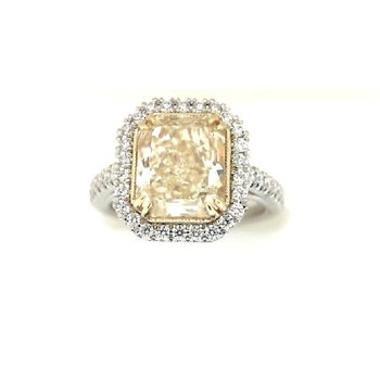 Platinum Yellow Diamond Halo Ring