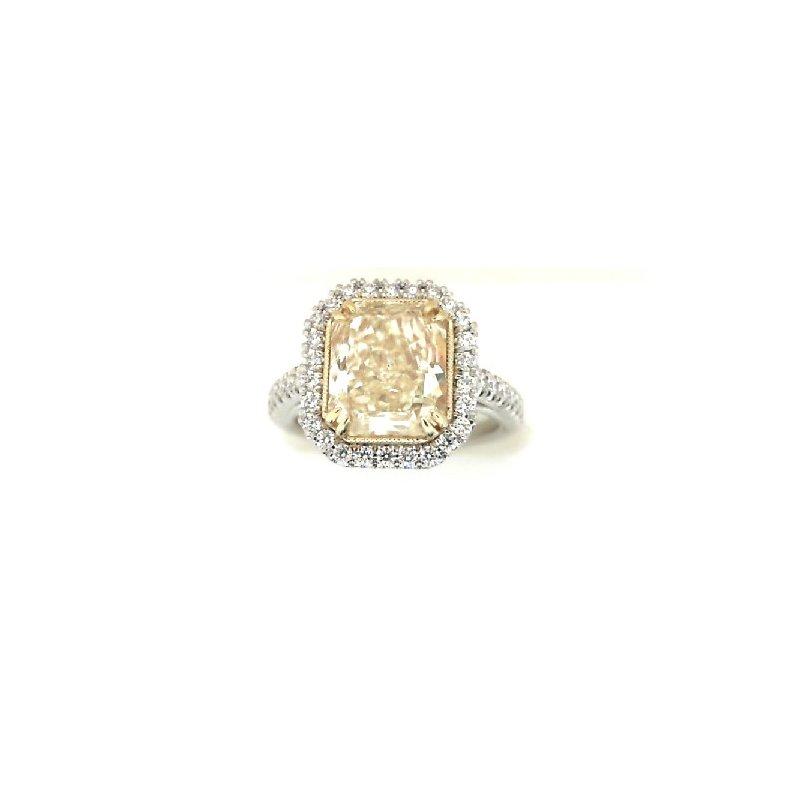 The  Collection Platinum Yellow Diamond Halo Ring