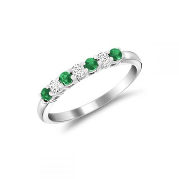 Semi Eternity Emerald & Diamond Ring