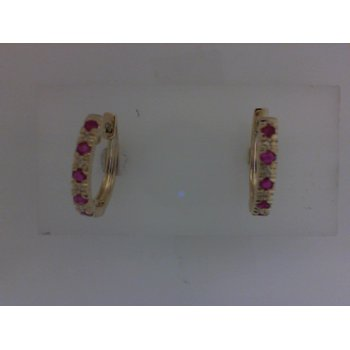 Ruby & Diamond Huggie Earrings