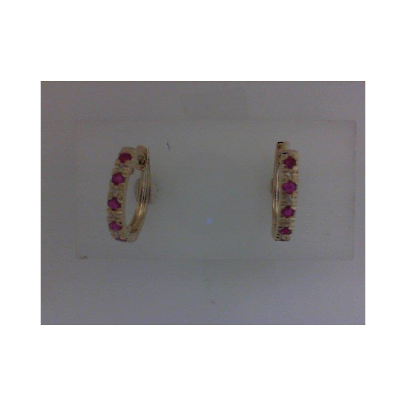 RNB Bijoux Jewellery Ruby & Diamond Huggie Earrings