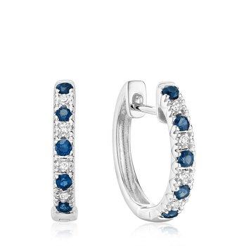 Blue Sapphire & Diamond Huggie Earrings