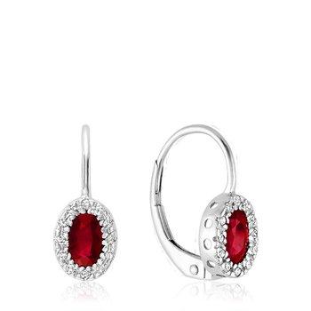 Oval Ruby & Diamond Halo Dangle Earrings