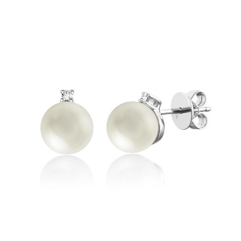 RNB Bijoux Jewellery Cultured Freshwater Pearl & Diamond Stud Earrings