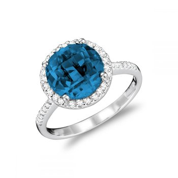 Round London Blue Topaz & Diamond Halo Ring