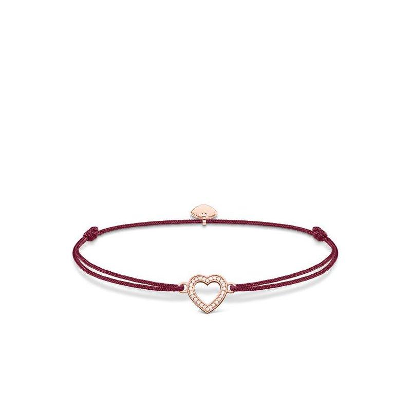 "Thomas Sabo Sterling Silver Rose Plated Textile Bracelet ""Little Secret Heart"""
