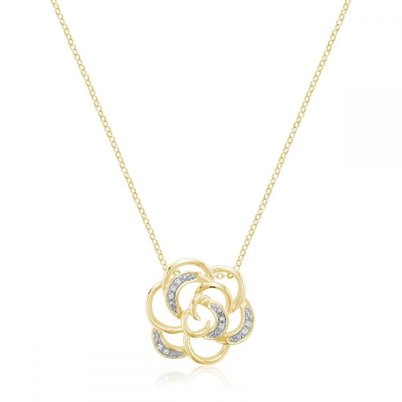 RNB Bijoux Jewellery Rose Flower Diamond Pendant