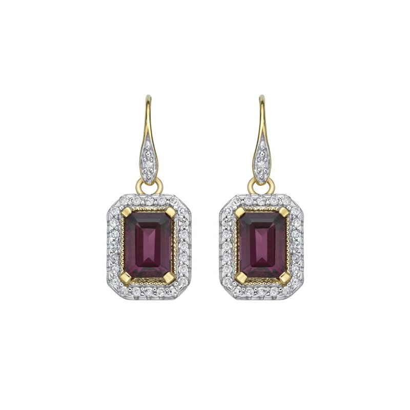 The  Collection Rhodolite Garnet And Diamond Drop Earrings