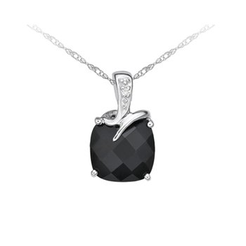 Onyx And Diamond Pendant