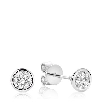 Bezel & Diamond Stud Earrings