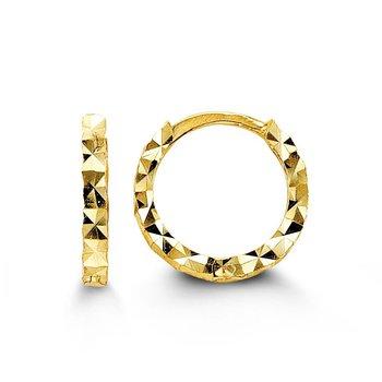 Diamond Cut Huggie Earrings