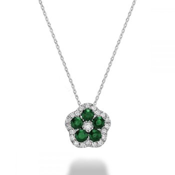 Hollow Flower Emerald & Diamond Pendant