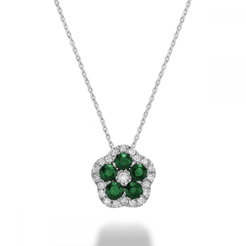 RNB Bijoux Jewellery Hollow Flower Emerald & Diamond Pendant