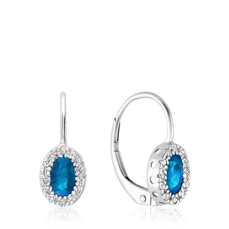 RNB Bijoux Jewellery Oval Blue Topaz & Diamond Halo Dangle Earrings