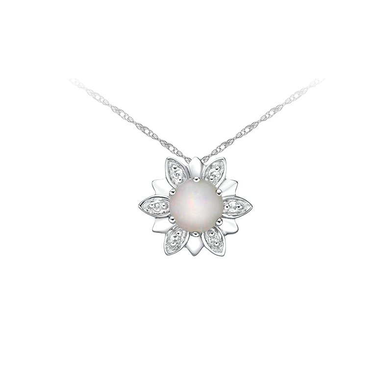 The  Collection Opal And Diamond Pendant