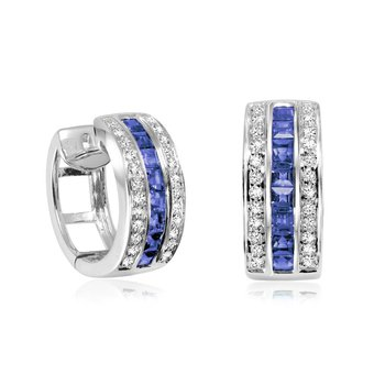 Blue Sapphire & Diamond Huggie Earrings