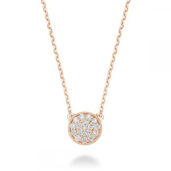 Circle Diamond Milgrain Necklace