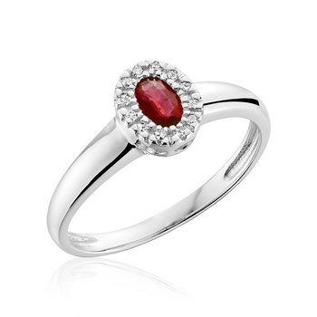 Oval Ruby & Diamond Halo Ring