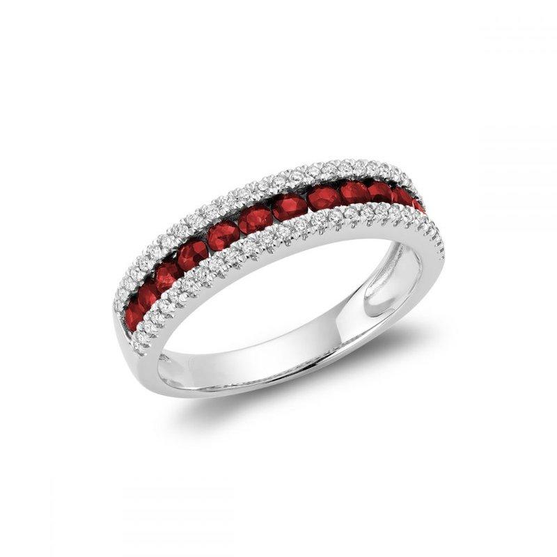 RNB Bijoux Jewellery Semi Eternity Ruby & Diamond Ring
