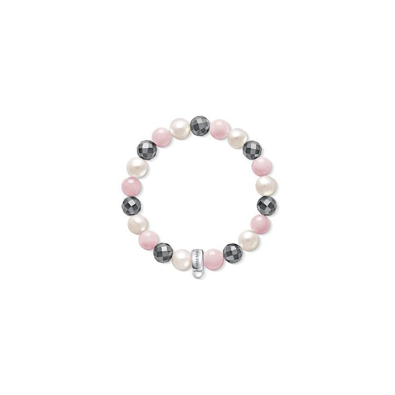 Thomas Sabo Charm Carrier Bracelet With White Fresh Water Pearls, Pink Quartz And Hematite