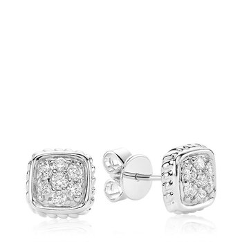 Square Rope Diamond Stud Earrings