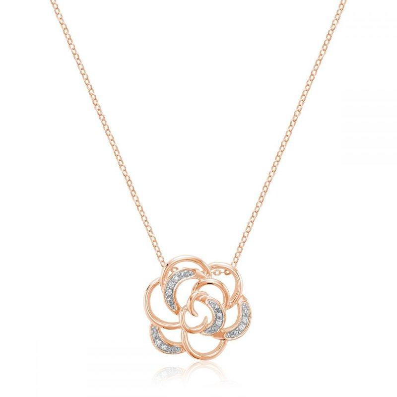 RNB Bijoux Jewellery Rose Flower Diamond Pendant