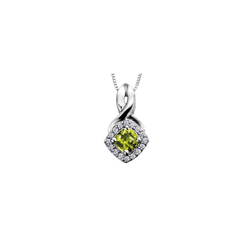 The Collection Peridot and Diamond Halo Pendant