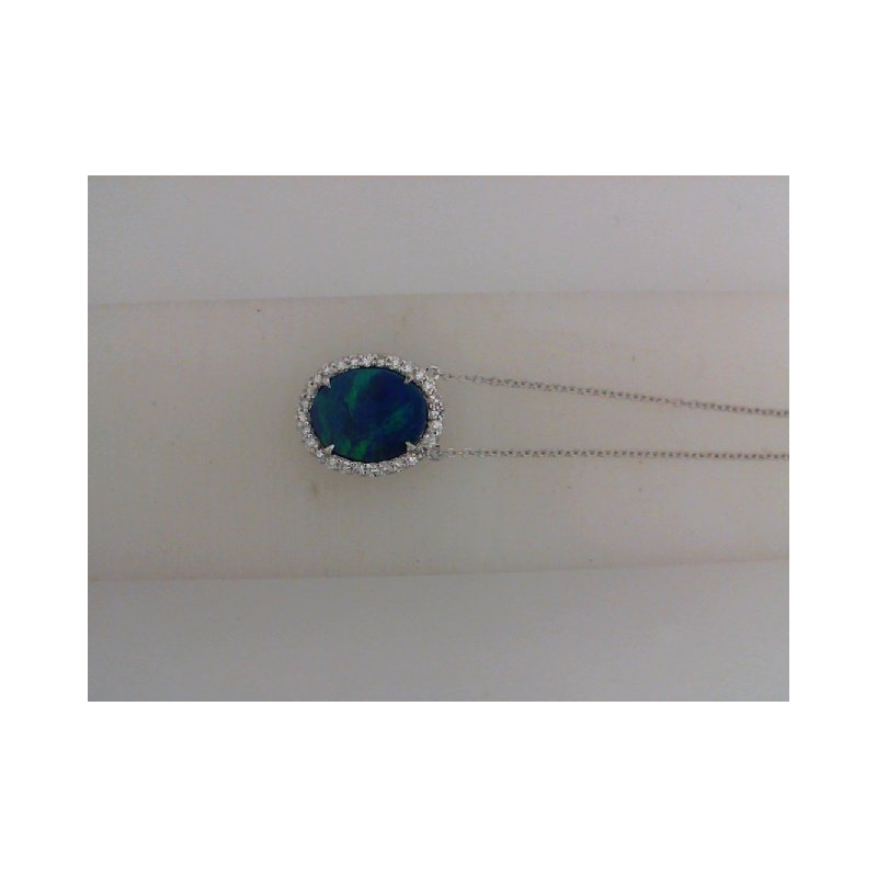The  Collection Australian Doublet Opal And Diamond Pendant