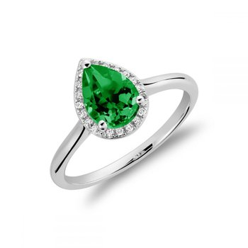 Created Emerald & Diamond Pear Shape Ring