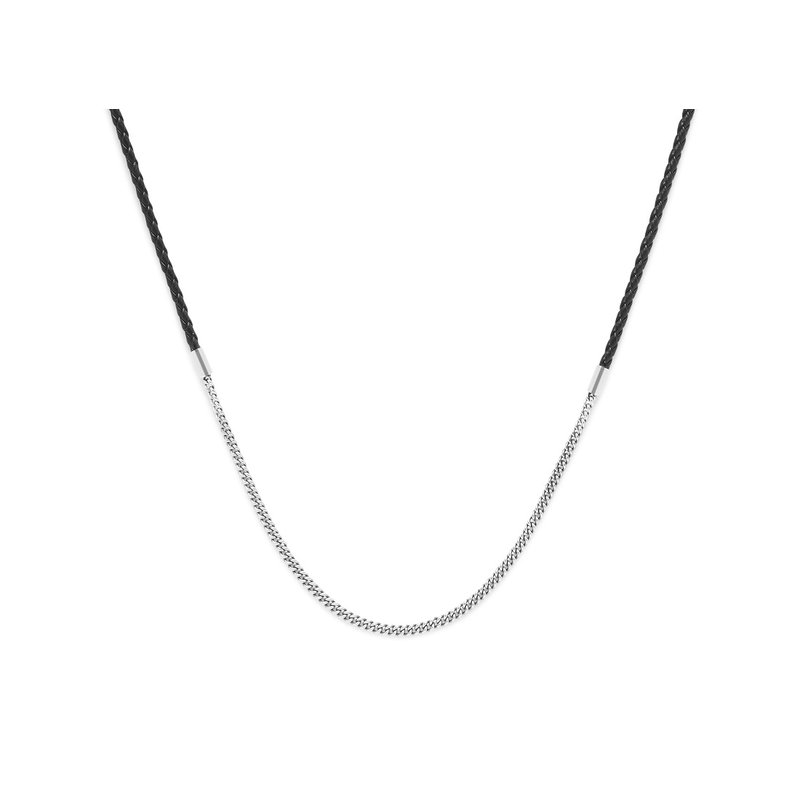 Buddha to Buddha Essential Mix Silver and Black Leather Necklace