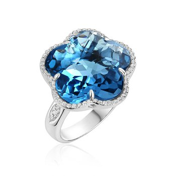 London Blue Topaz & Diamond Flower Ring