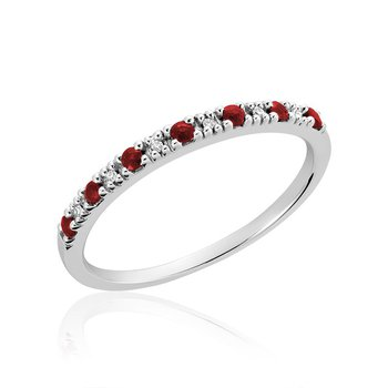 Pave Semi Eternity Ruby & Diamond Ring
