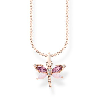 Necklace Dragonfly With Stones Rose Gold
