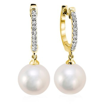 Cultured Freshwater Pearl & Diamond Dangle Earrings