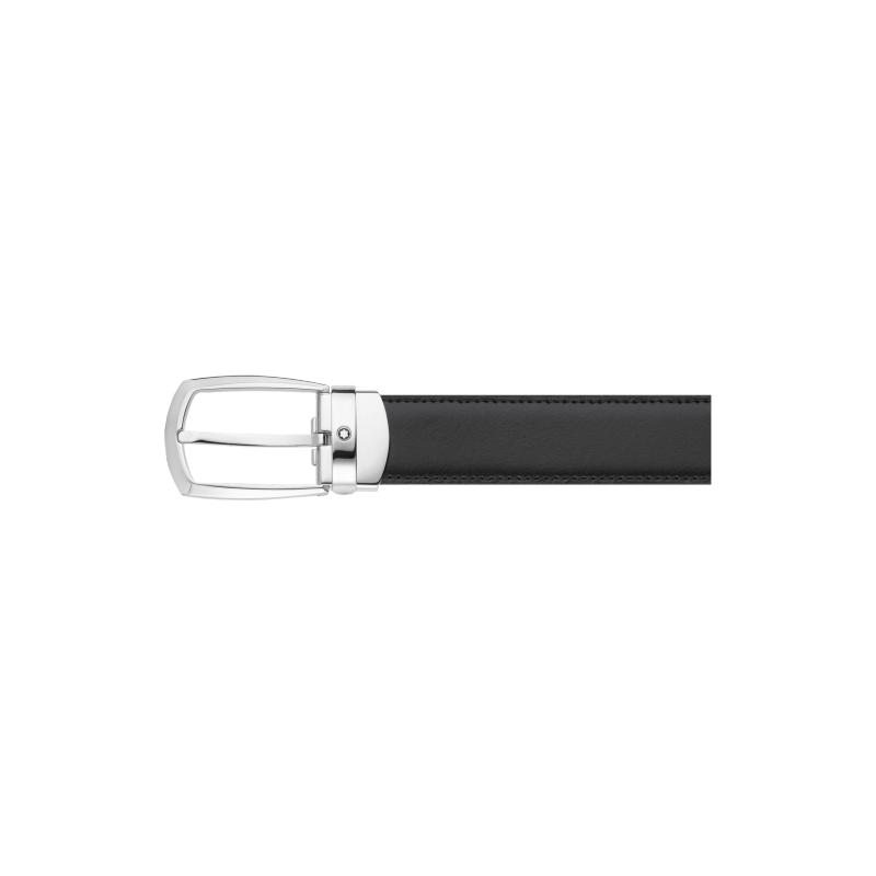 Montblanc Horseshoe Oblong Shiny Belt Reversible Leather Black/Brown Belt