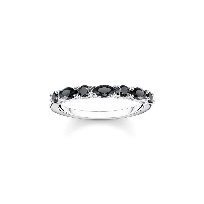 Thomas Sabo Ring Black Stones Silver