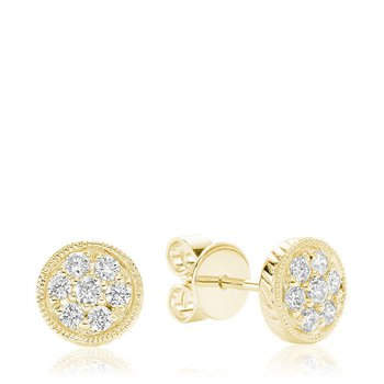 Round Milgrain Diamond Stud Earrings