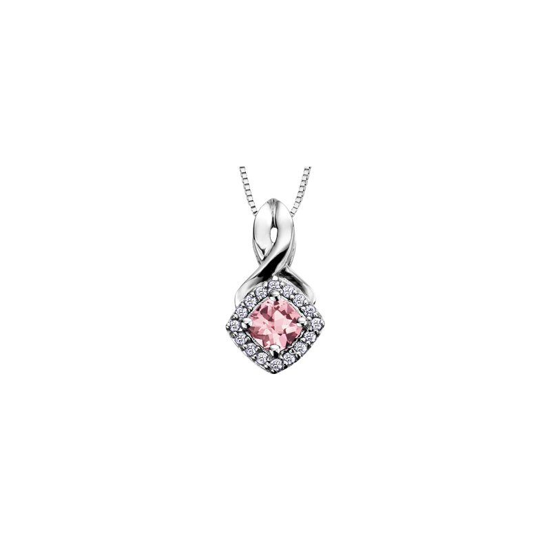 The Collection Pink Tourmaline and Diamond Pendant
