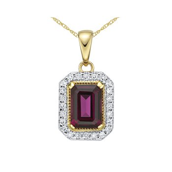Rhodolite Garnet And Diamond Pendant