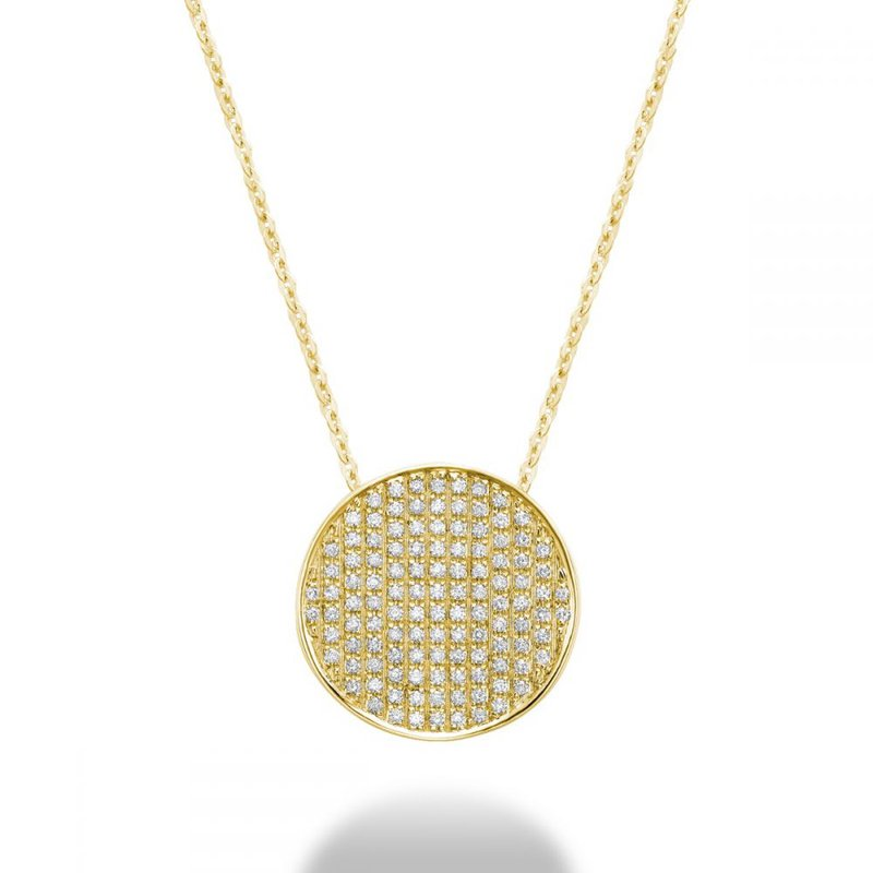 RNB Bijoux Jewellery Curved Disk Diamond Pendant