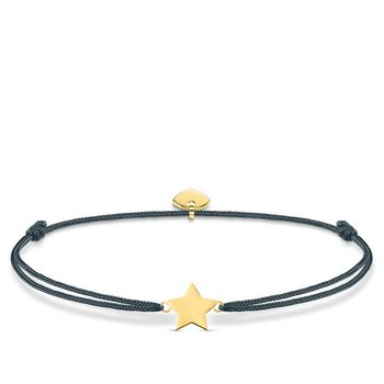 "Sterling Silver Gold Plated Black Textile Bracelet ""Little Secret Star"""