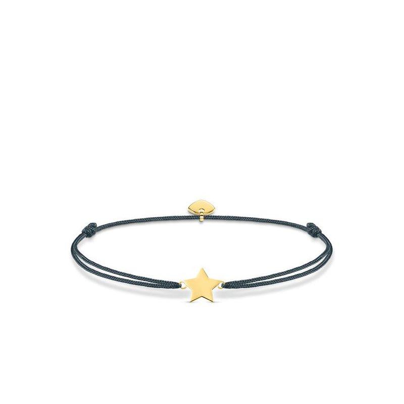 """Thomas Sabo Sterling Silver Gold Plated Black Textile Bracelet """"Little Secret Star"""""""
