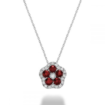 Hollow Flower Ruby & Diamond Pendant