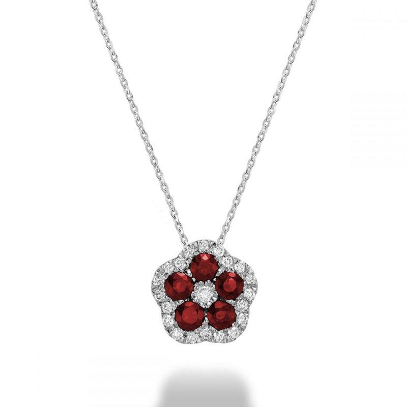 RNB Bijoux Jewellery Hollow Flower Ruby & Diamond Pendant