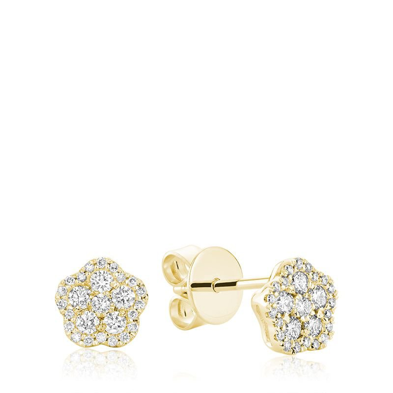 RNB Bijoux Jewellery Hollow Flower Diamond Stud Earrings