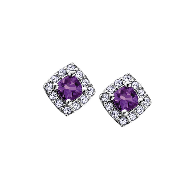 The Collection Amethyst and Diamond Halo Earrings