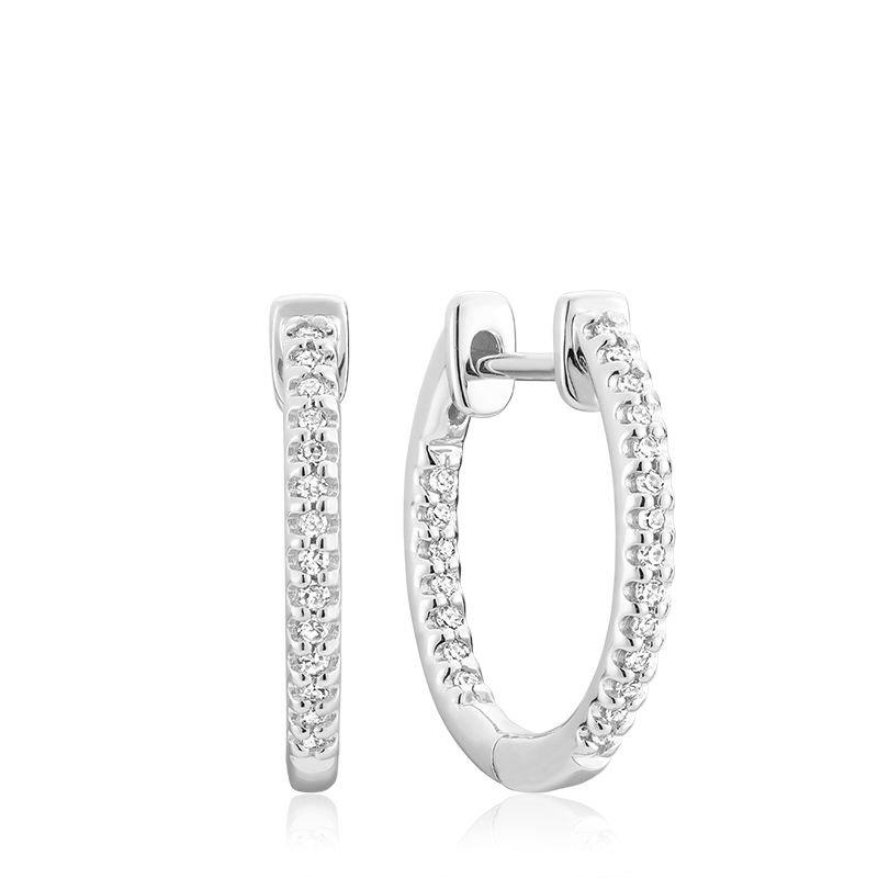 RNB Bijoux Jewellery Inside-Out Pave Diamond Hoop Earrings