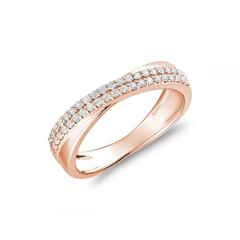 Crossover Pave Diamond Ring