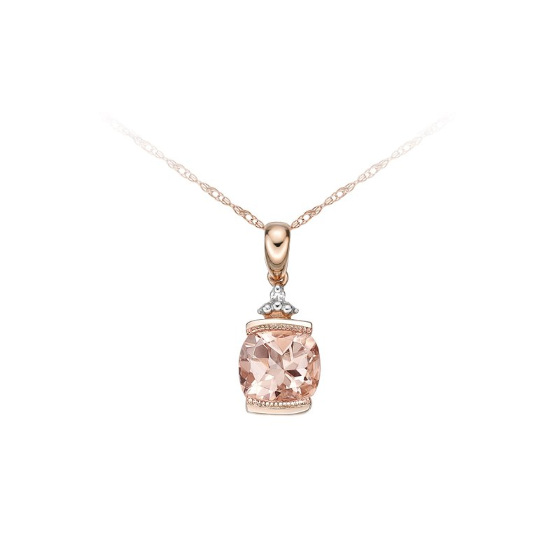 The Collection Morganite And Diamond Pendant