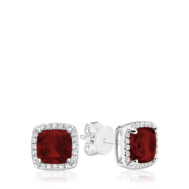 RNB Bijoux Jewellery Cushion Cut Garnet & Diamond Halo Earrings
